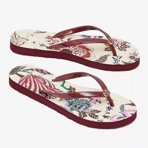 NWOT Tory Burch thin flip flops floral sandals